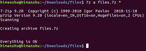 создание zip-архива на Linux