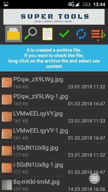 сообщение о сжатии файлов приложением 7Zipper